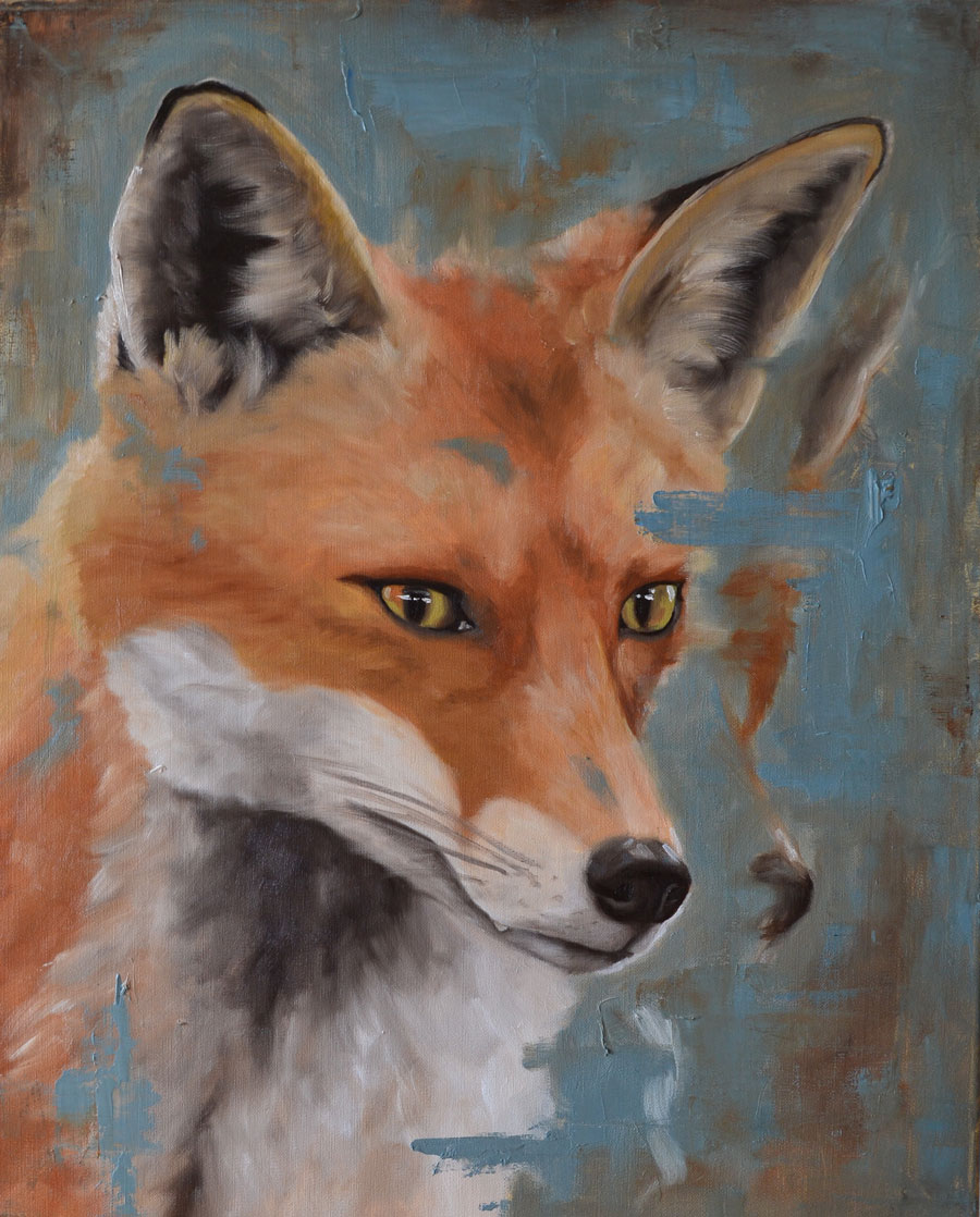 Oil painting on linen of curious fox