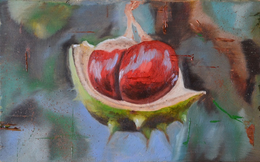 Conkers oil painting