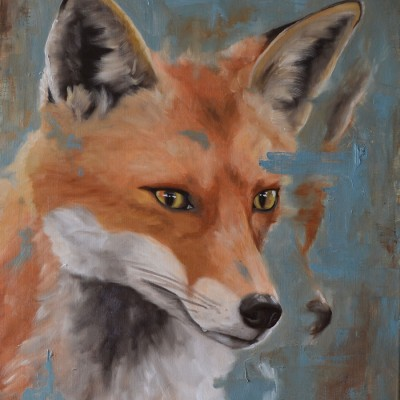 Oil Painting On Linen Of Focused Fox
