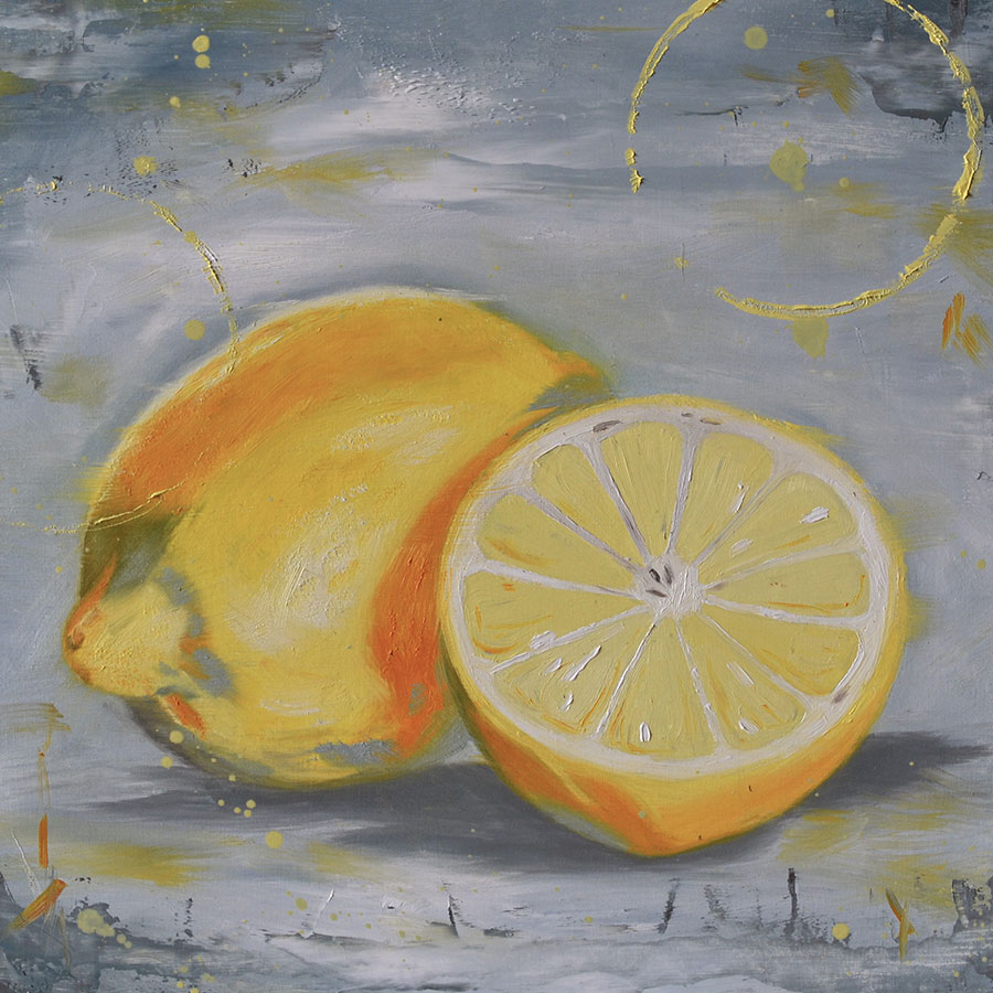 Lemons oil painting