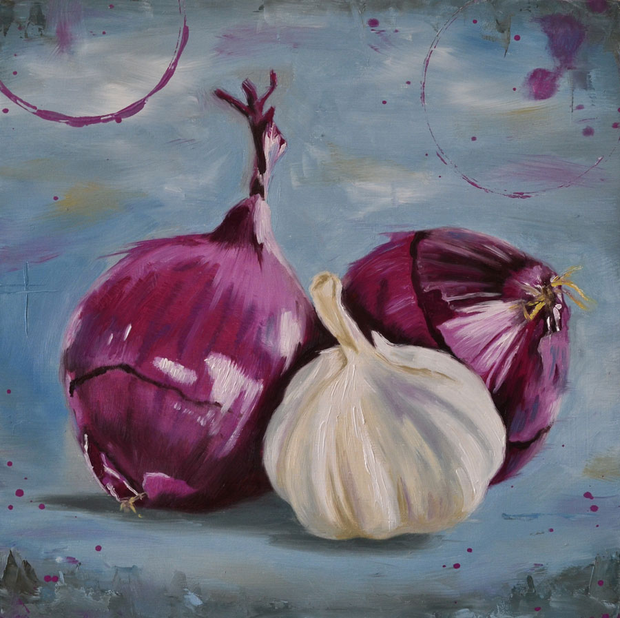 Onions And Garlic Oil Painting