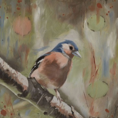 Male Chaffinch In Sunlight - Oil Painting