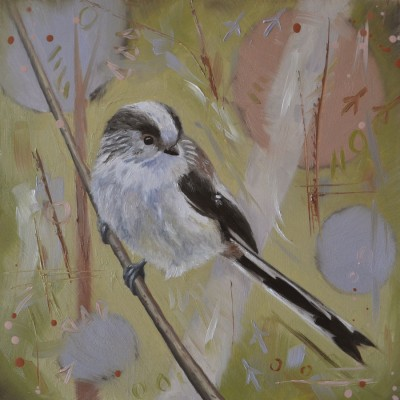 Oil Painting Of A Long Tailed Tit