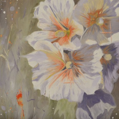 Oil Painting Of Hollyhocks