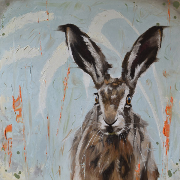 Wild youth - oil painting of a young hare