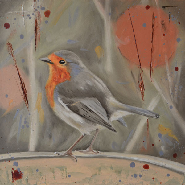 Robin On Flower Pot Oil Painting