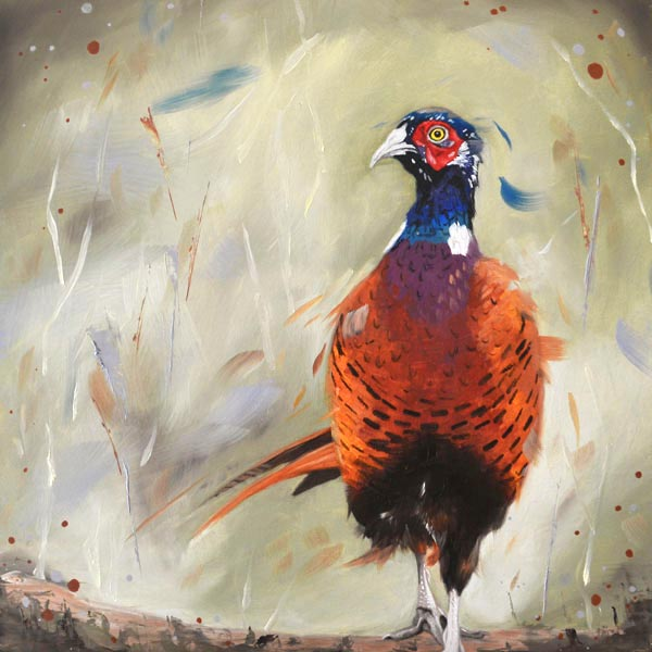 Dashing pheasant painting