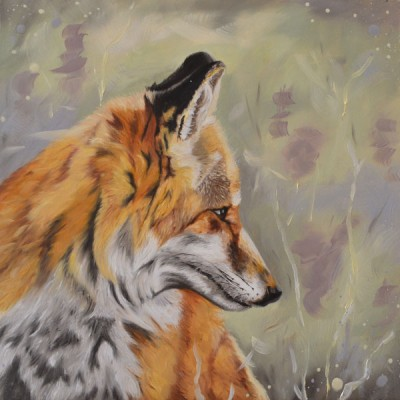 Oil Painting Of A Fox In The Heather