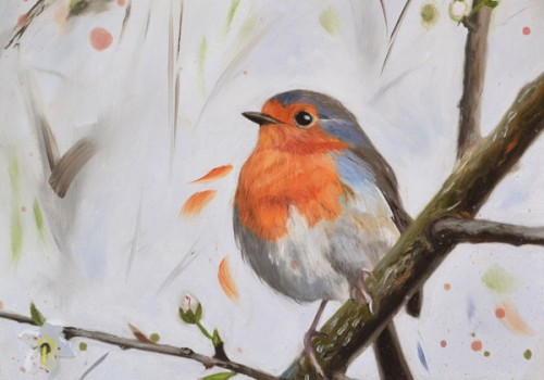 Robin With Blossom