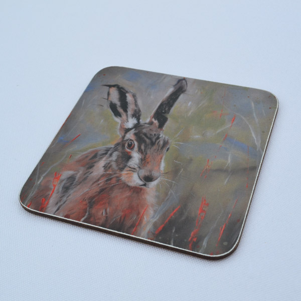 Hare In The Long Grass Coaster From Side