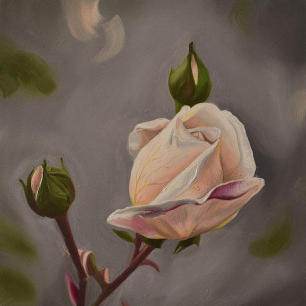 Rosebuds oil painting