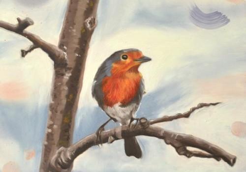 A Plum Spot Robin Painting