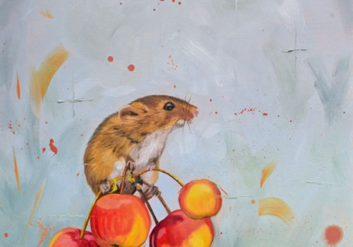 Cherry Picked - Oil Painting Of A Mouse On Unripe Cherries