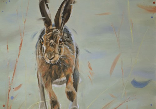 Jasper - Oil Painting Of A Running Hare