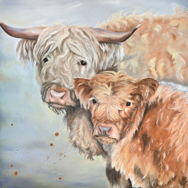 Lumi And Floss - Oil Painting Of A Highland Cow And Her Calf