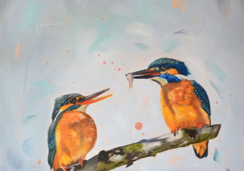 The Gift - Oil Painting Of Two Kingfishers