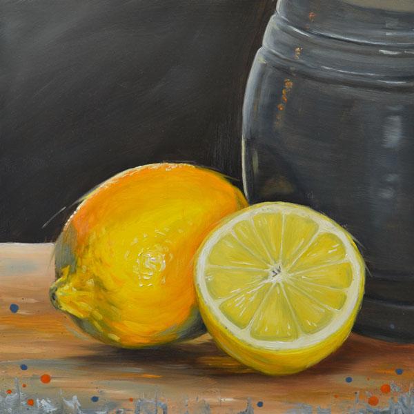 Oil Painting Of Lemons And Jug