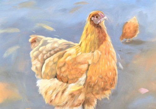 Oil Painting Of A Chicken By Laura Beardsell-Moore