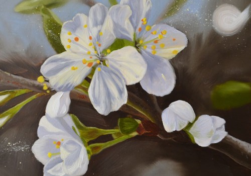 Morello Cherry Blossom II Oil Painting