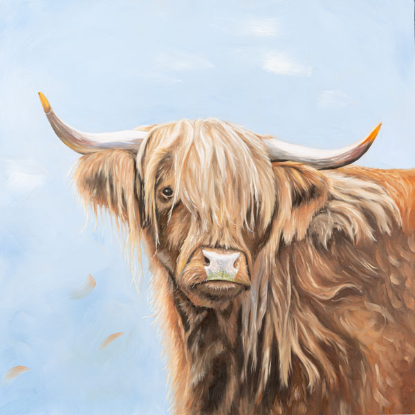 Oil Painting Of Fern, Highland Cow