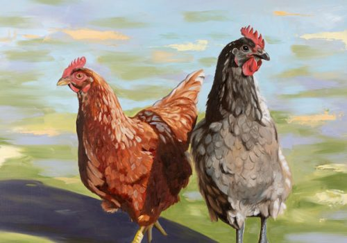 Girls Day Out - Oil Painting Of Chickens