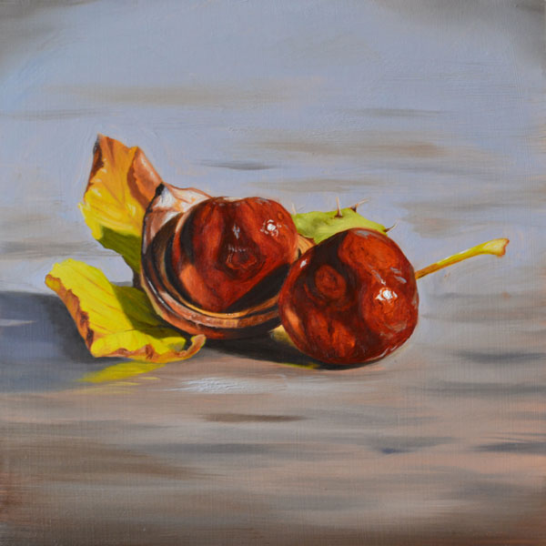 Oil Painting Of Two Conkers