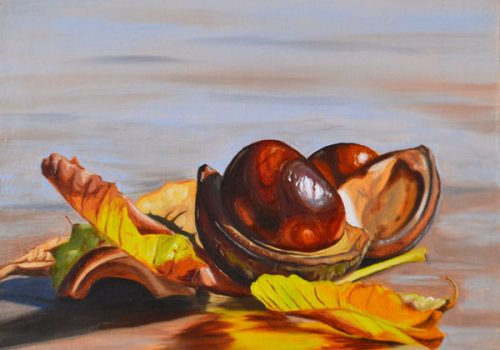 Two Conkers And Leaves